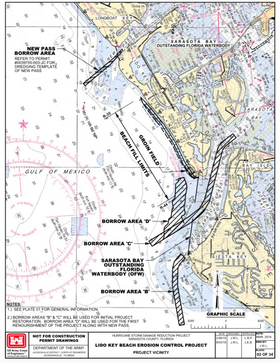 This graphic shows the borrow areas. Image courtesy FDEP