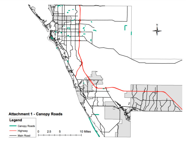 A map shows the Canopy Roads in the county. Image courtesy Sarasota County