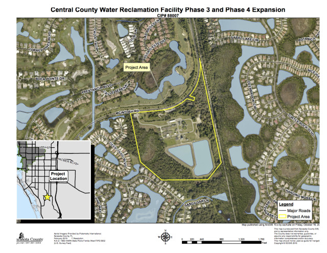 A graphic shows the area of the water reclamation facility. Image courtesy Sarasota County