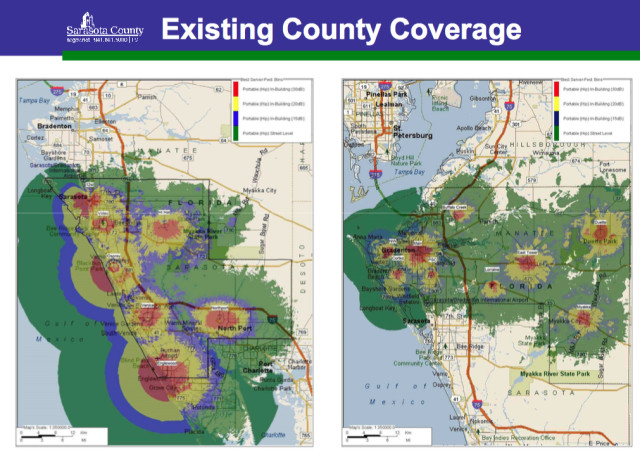 Graphics show the existing emergency radio coverage for Sarasota and Manatee counties. Images courtesy Sarasota County