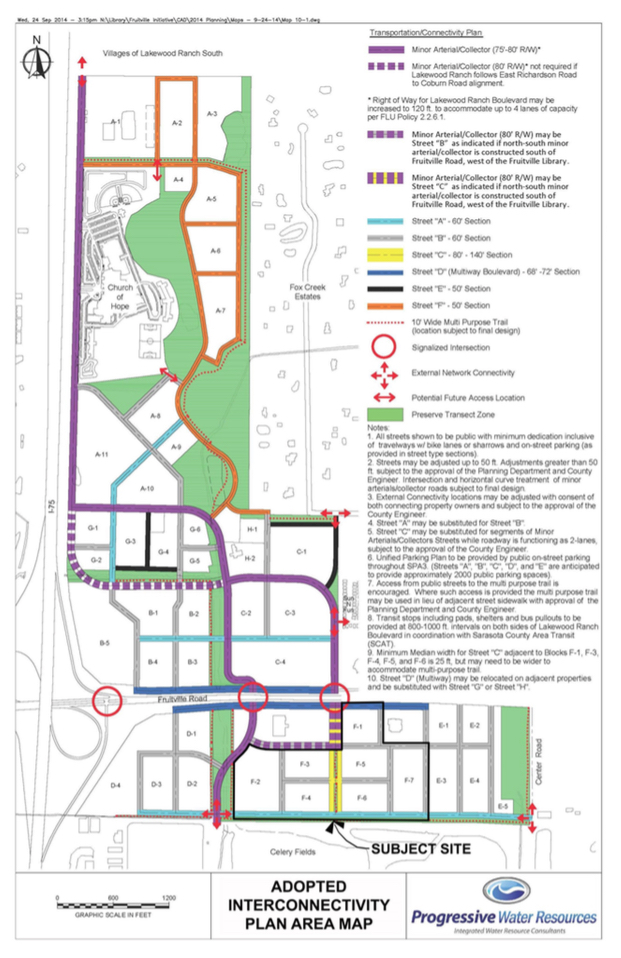 The Fruitville Initiative calls for walkable developments. Image courtesy Sarasota County