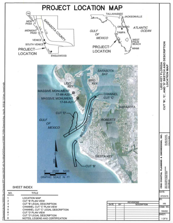A map shows the Lido Renourishment Project area, as proposed in the March 2015 application to FDEP. Image courtesy FDEP