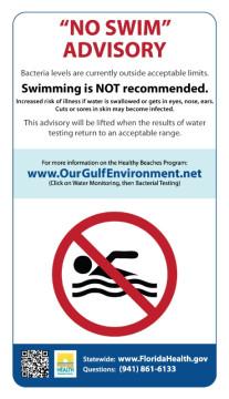 NO Swim advisory Health Dept