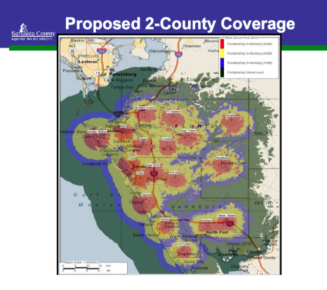 A graphic shows the coverage area of the new emergency communications system. Image courtesy Sarasota County