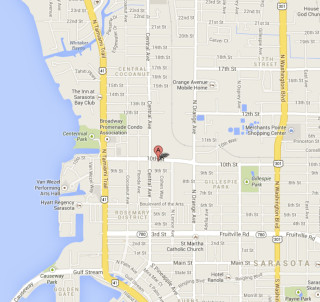 A Google map shows the location of the Salvation Army shelter in Sarasota. Image courtesy Google Maps