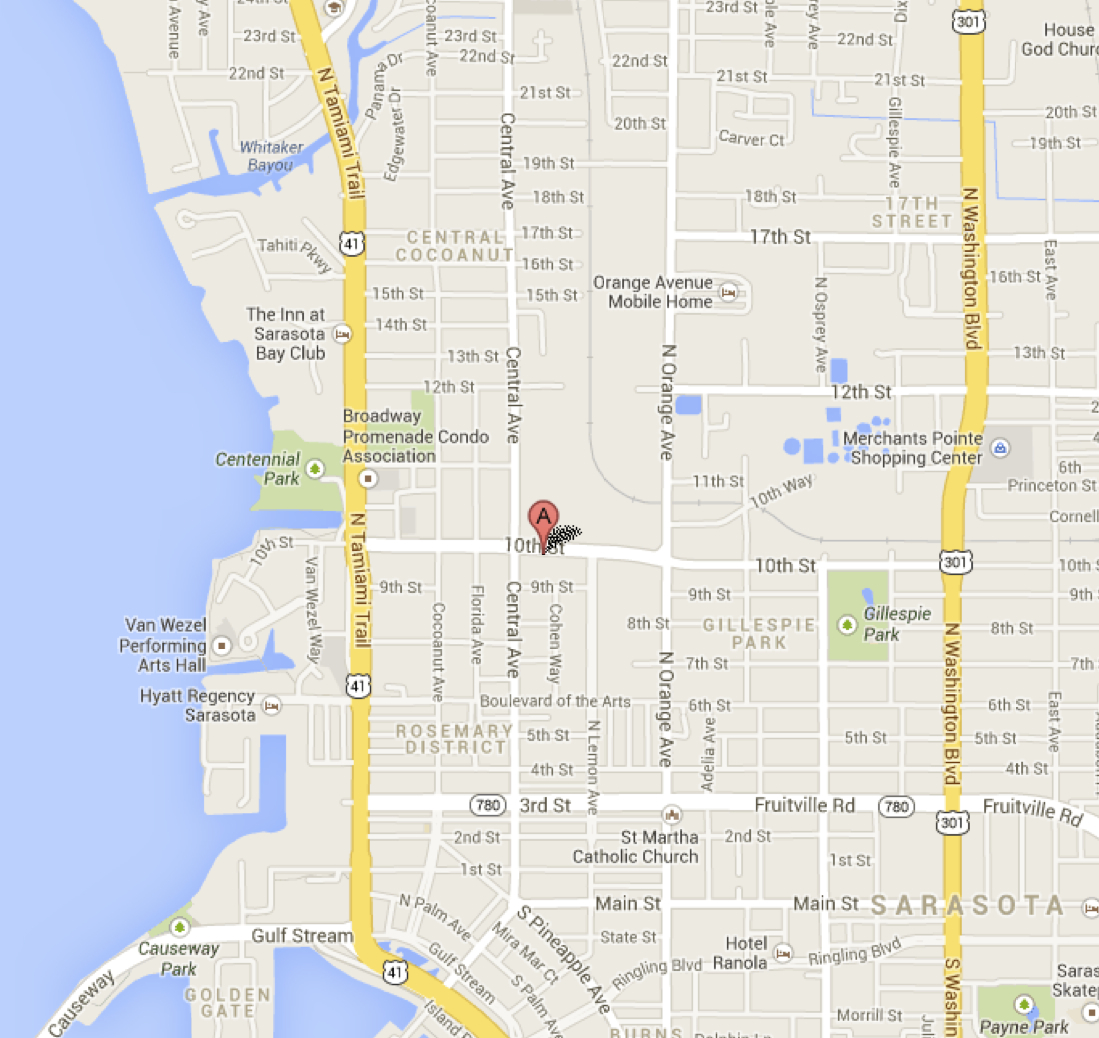 a google map shows the location of the salvation army shelter in sarasota image courtesy