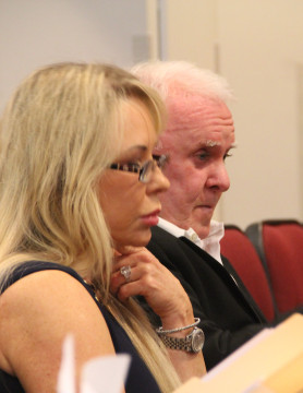San and Ronald Allen listen to discussion during the October 2015 public hearing. File photo