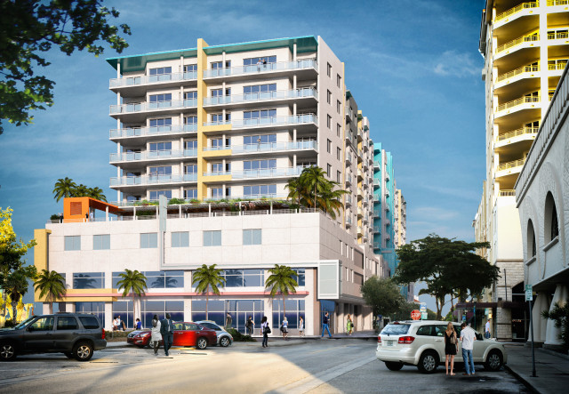 An artist's rendering shows the concept for the 2nd Street Apartments. Image courtesy Carter