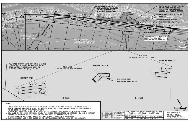An engineering drawing shows the area of south Siesta Key that will be renourished and borrow areas. Image courtesy Sarasota County