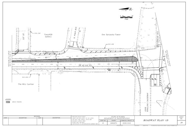 This option shows the wider median on U.S. 41 between Gulfstream Avenue and Fruitville Road. Image courtesy City of Sarasota