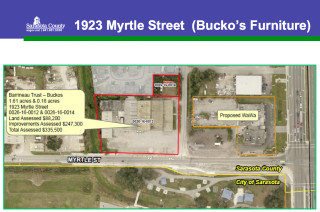 A county graphic offers more details about the Myrtle Street site. Image courtesy Sarasota County