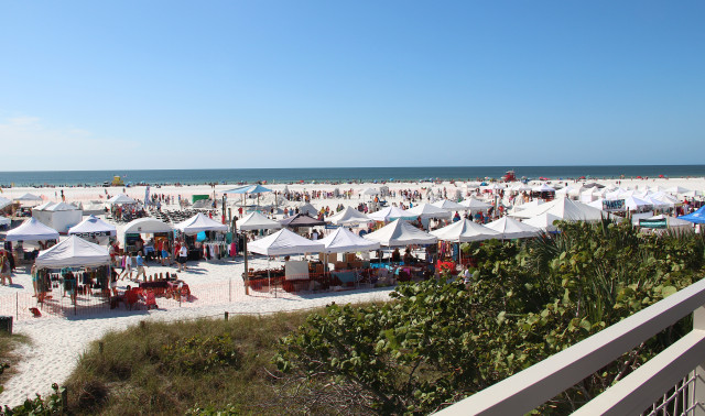 The Crystal Classic competition area and Vendor Village take up a portion of Siesta Public Beach. Rachel Hackney photo