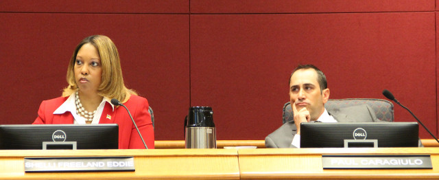 City Commissioner Shelli Freeland Eddie and County Commissioner Paul Caragiulo on Nov. 6. Rachel Hackney photo