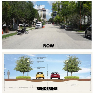 The city provided a 'before' shot of First Street and a rendering of the changes. Image courtesy City of Sarasota