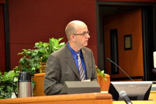 Jim Harriott speaks to the County Commission in 2013. File photo