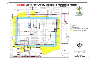 A map shows the Laurel Park Overlay District. Image courtesy City of Sarasota