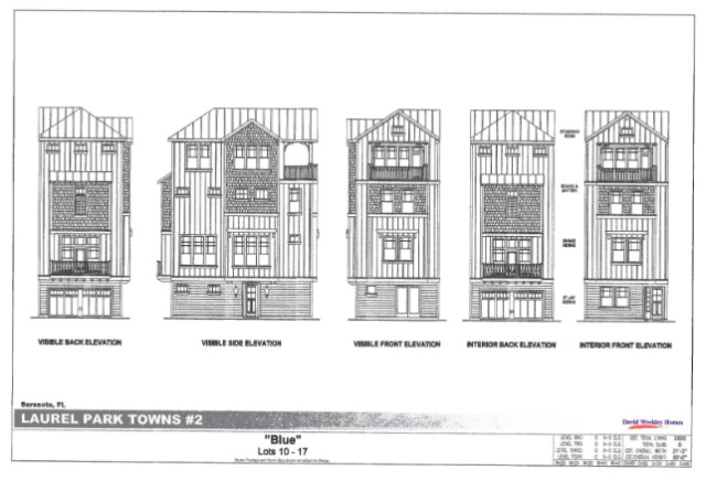 Renderings show examples of the Oaktree Development townhomes. Image courtesy City of Sarasota