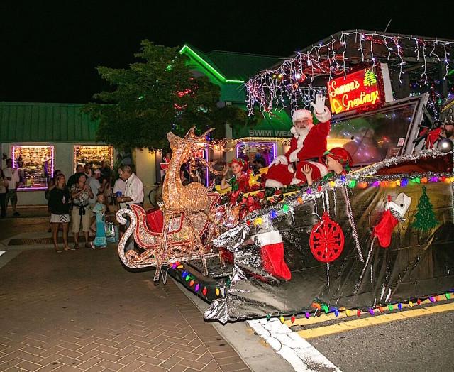 Santa Claus makes his way into Siesta Village during the 2015 parade. Photo courtesy Peter van Roekens