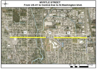 A county map shows the area of improvements planned for Myrtle Street. Image courtesy Sarasota County
