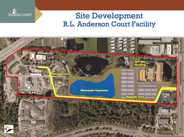 A graphic shows the area of expansion of the R.L. Anderson Center in Venice. Image courtesy Sarasota County