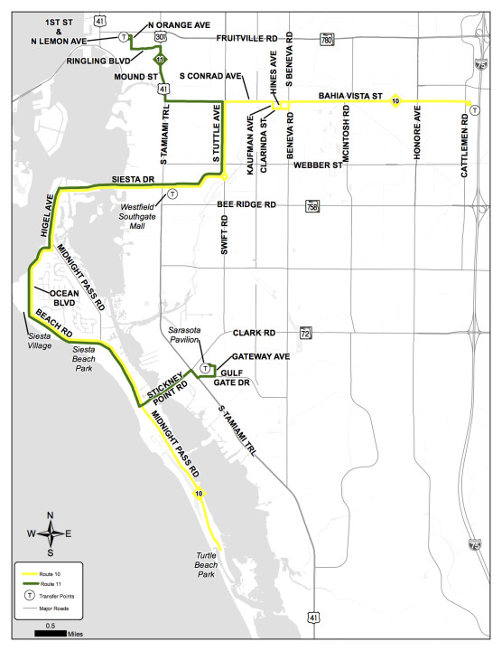 A map shows where SCAT Routes 10 and 11 will travel as of Nov. 14. Image courtesy Sarasota County