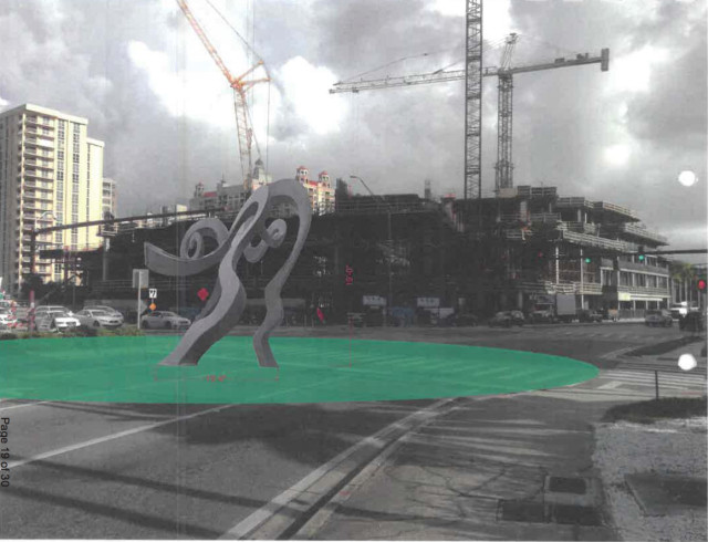 A graphic shows the sculpture in the center of the roundabout, amid current downtown construction. Image courtesy City of Sarasota