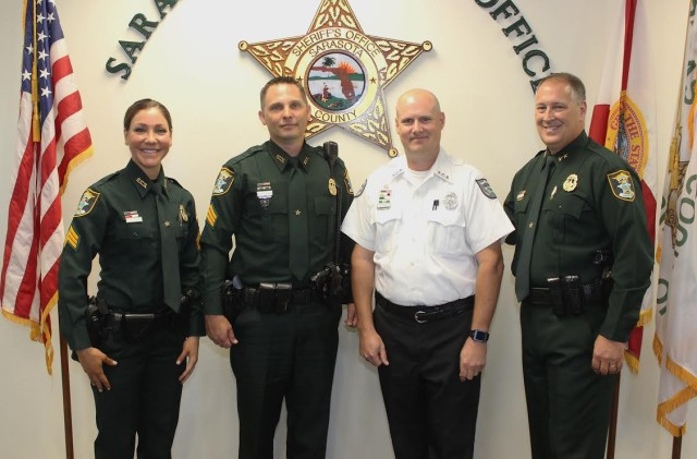 (From left) Sgt. Michelle DiCapua, Sgt. Scott Huber, Operations Supervisor Brett Thomas and Sheriff Tom Knight. Photo courtesy Sheriff's Office