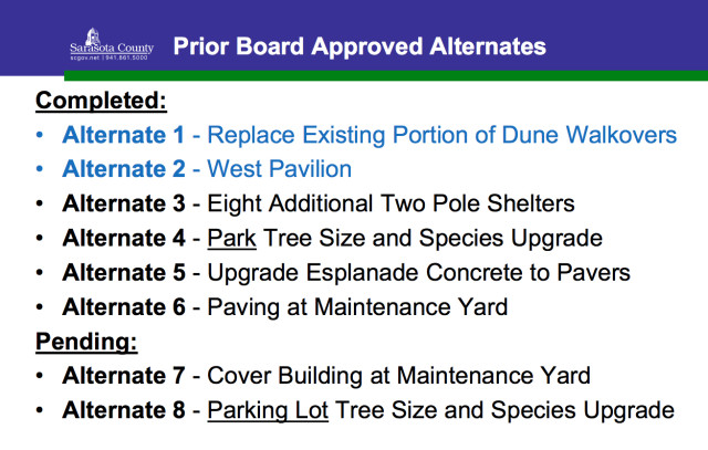 In August 2013, the County Commission ranked alternates for Siesta Beach Park amenities. Image courtesy Sarasota County