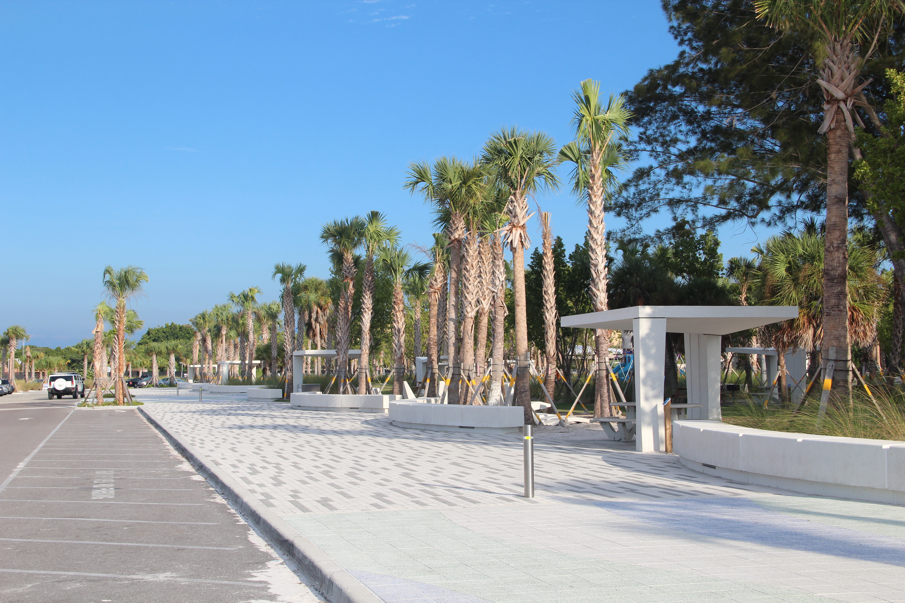 New Concrete Picnic Shelters Stand Adjacent To The Promenade At Siesta Public Beach Rachel Hackney