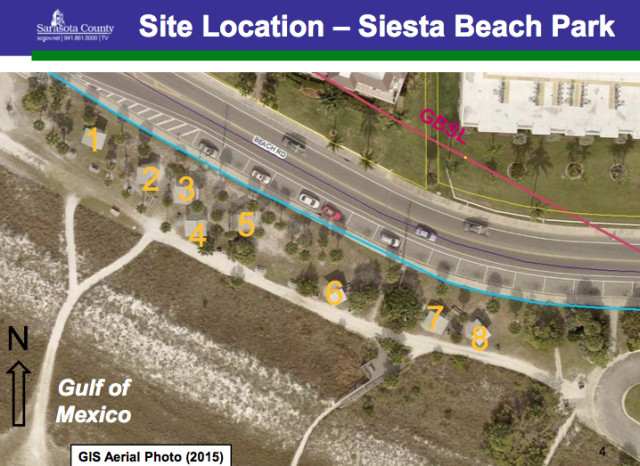 A county aerial shows the location of the new concrete picnic shelters. Image courtesy Sarasota County
