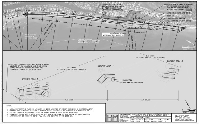 An engineering drawing shows further details of the project. Image courtesy Sarasota County