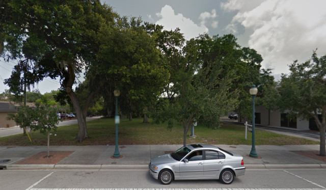 A street view shows the trees on the property. Image from Google Maps