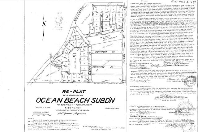 The 1952 plat for part of Siesta Key shows Lake Norma. Image courtesy Sarasota County