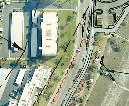 Kessler outlined the Beach Road spaces in red for presentation to the TAC. News Leader photo