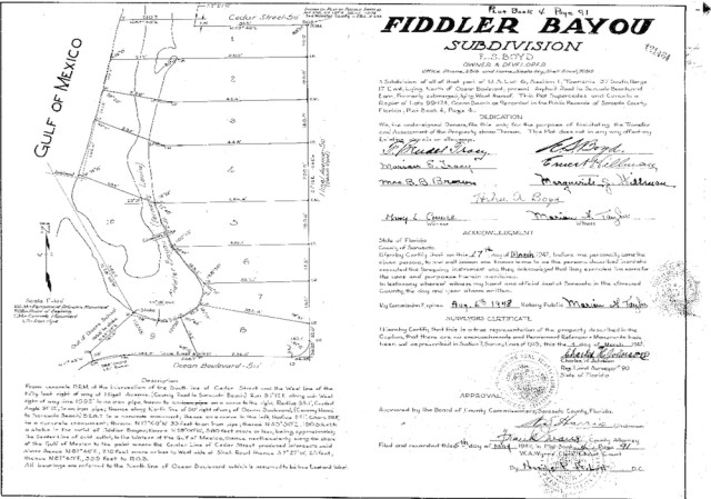 A second plat shows the Fiddler Bayou subdivision. Image courtesy Sarasota County