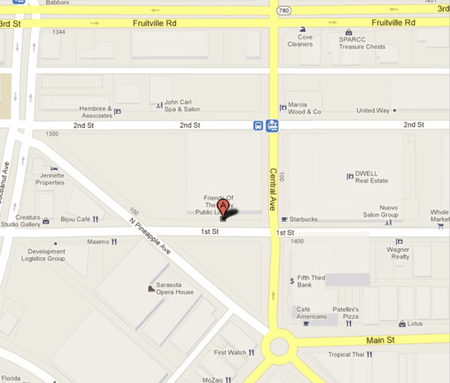 A map shows the location of Five Points Park in downtown Sarasota. Image from Google Maps
