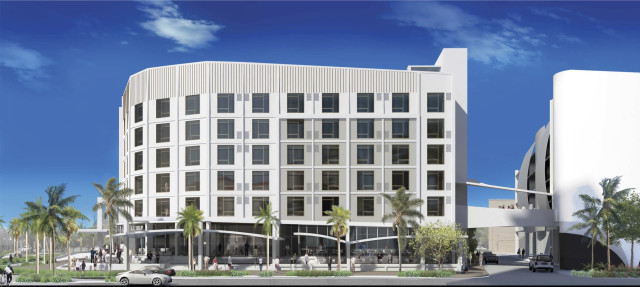 A rendering shows the hotel planned for Palm Avenue, next to the city's parking garage. Image courtesy Palm Avenue Holdings