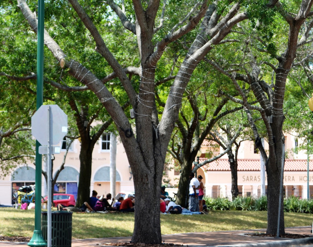 Homeless people gather in Five Points Park in 2013. File photo