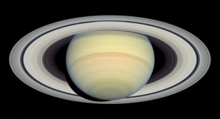 The rings of Saturn as shown in an image provided from the Hubble Space Telescope via NASA.