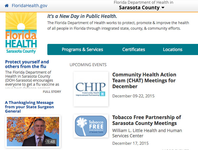 The Health Department's homepage offers links to numerous programs. Image from the website