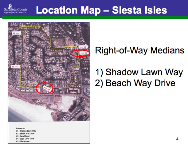 A graphic shows the neighborhood and the two entryways designated for improvements. Image courtesy Sarasota County