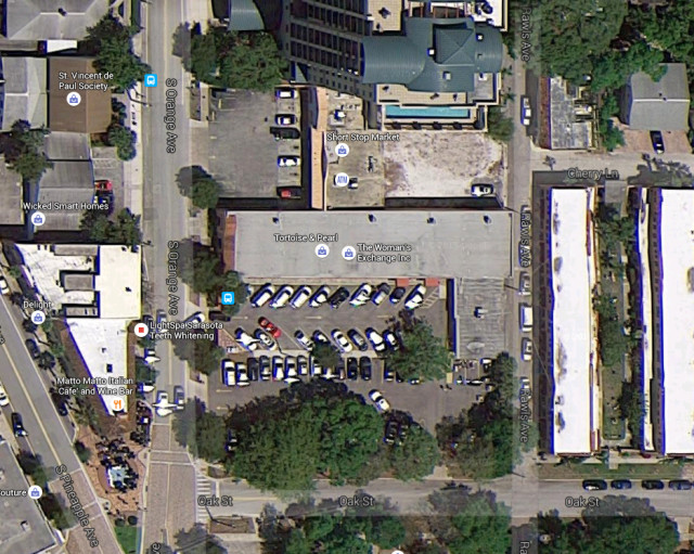 An aerial view shows Rawls lane to the east of the Woman's Exchange building. Image from Google Maps