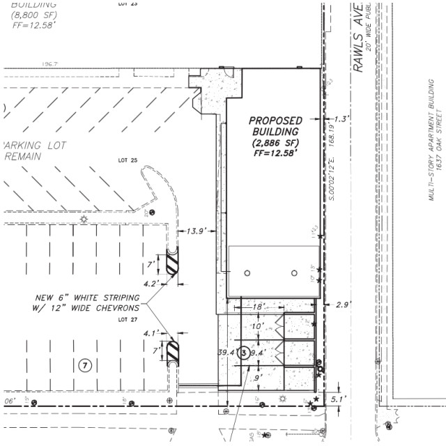 The application the Woman's Exchange submitted to the city in March included this engineering drawing of the proposed structure and loading zone. Image courtesy City of Sarasota