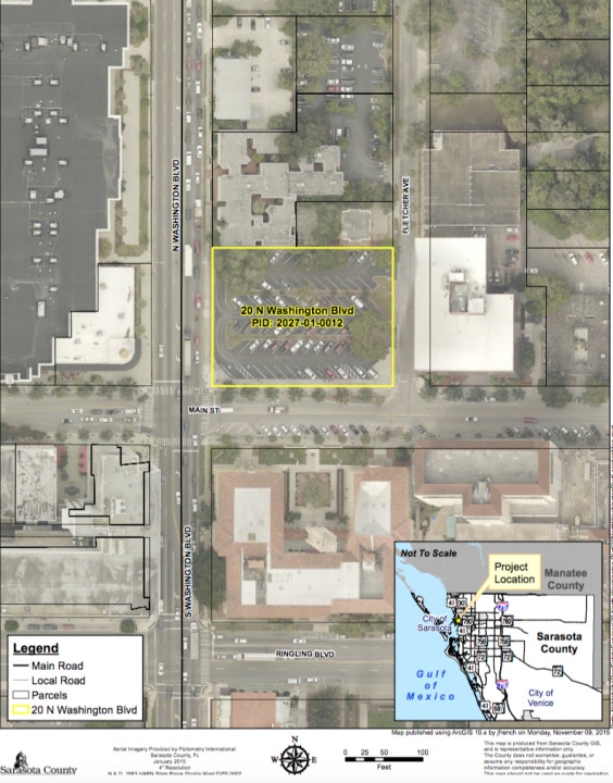 A graphic shows the location of 20 N. Washington Blvd. in downtown Sarasota. Image courtesy Sarasota County