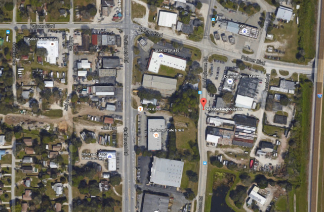 An aerial view shows the parcel at 983 Packinghouse Road. Image from Google Maps