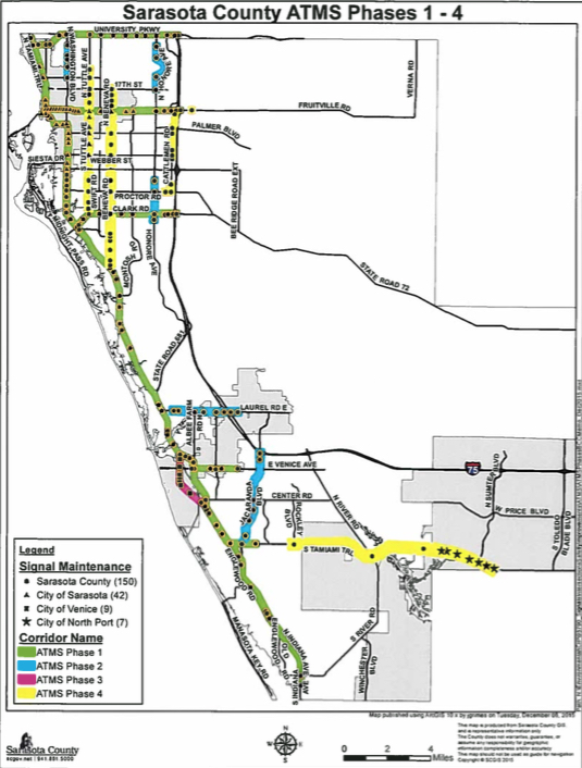 A map shows the areas where Phases 1 through 4 have been installed. Image courtesy Sarasota County
