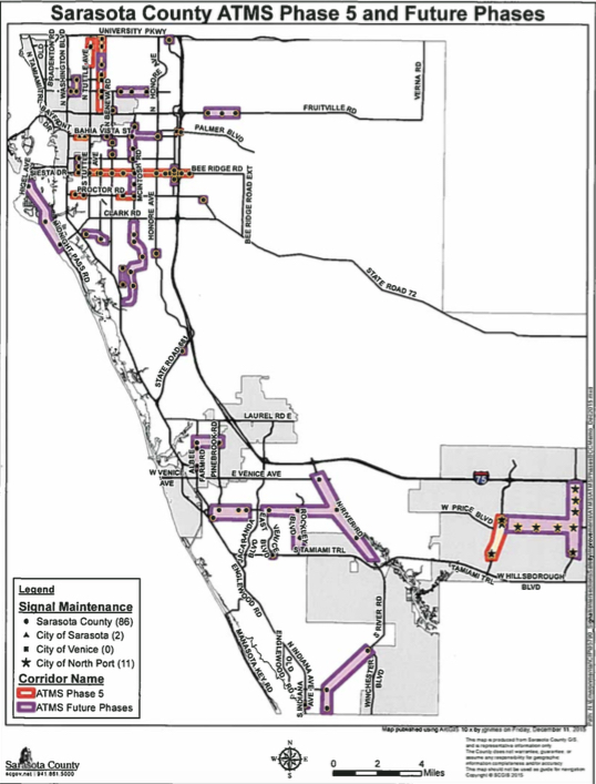 A map shows the areas where Phase 5 and future phases will be installed. Image courtesy Sarasota County