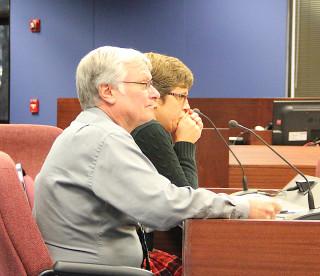 Al Weidner and Kathie Ebaugh address the School Board. Rachel Hackney photo