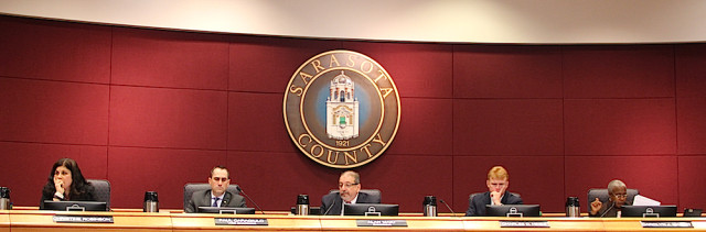 County commissioners listen to speakers during the Jan. 27 public hearing: (From left) Vice Chair Paul Caragiulo, Chair Alan Maio and Commissioner Charles Hines. Rachel Hackney photo