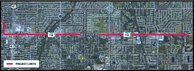 A graphic shows the project area. Image courtesy FDOT